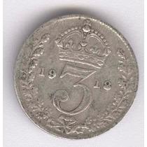 Inglaterra 3 Pence De 1918 De Plata (020h)