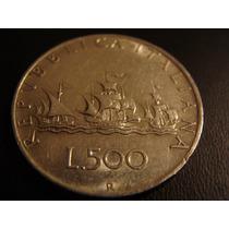 Italia Moneda 500 Liras Plata 1965 Carabelas Cristobal Colon