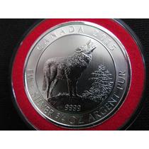 Moneda Plata 3/4 Onza Canada Lobo Gris 2015