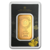 Lingote Royal Canadian Mint 1 Onza Oro Puro .9999 Sellado.