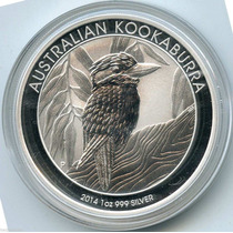 Moneda 2014 Kookaburra Australiana 1 Oz Troy .999 Plata Pura