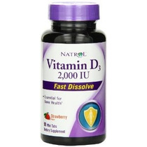 Natrol Vitamina D3 2000iu Mini Aquí Strawberry 90 Conteo