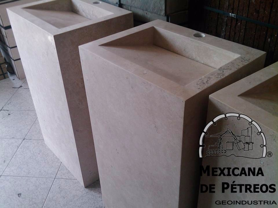 Mueble De Mármol Beige Para Baño Con Lavabo Minimalista ...