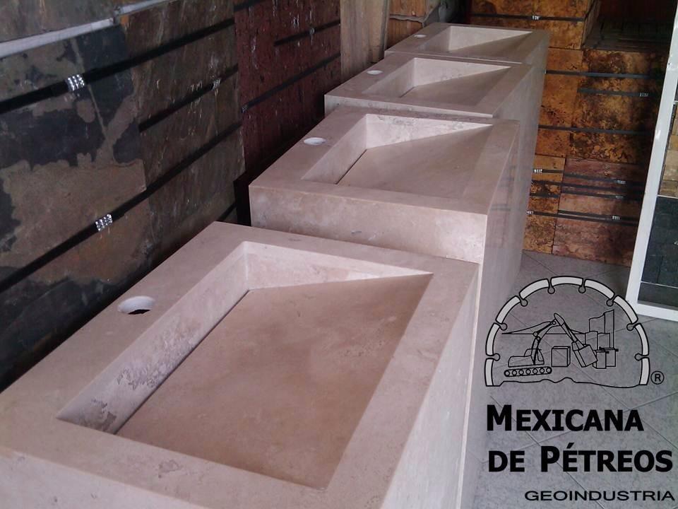 Tipos De Loseta Para Baño:Mueble De Mármol Beige Para Baño Con Lavabo Minimalista – $ 4,35000