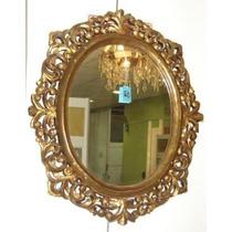 Espejo Antiguo Oro Mueble Sala Comedor Mesa Bronce Radio