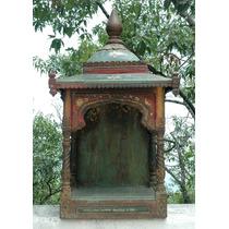 Mandir Hindu Antiguo Madera Tallada Policromada Nicho Templo