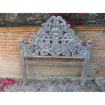 Cabecera Qs Vintage Tallada En Madera Con Decapado Antiguo