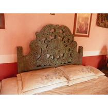 Cabecera Vintage Tallada En Madera Con Decapado Antiguo