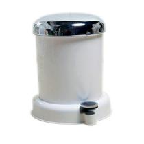 Basurero Pvc 12 Litros Blanco De Tapa Cromada Y Pedal Namaro
