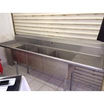 Fregadero Tres Tarjas Para Restaurante Con Mezcladora Usado