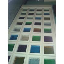 Biombo Alto De Madera Con Cristales De Colores