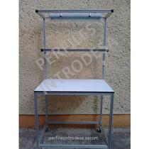 Mesa De Trabajo Con Perfil De Aluminio 30 X 30 C/lámpara