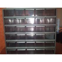 Gabinete Cajonero Visible Metalico Con 30 Cajas De Plastico