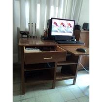 Escritorio Secreterial En Madera Computadora Fax Oficina