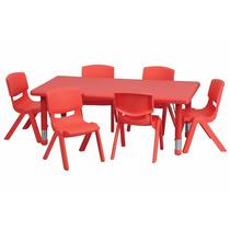 Mesa De Actividades Escolar Ajustable 6 Sillas Color Rojo