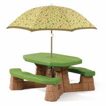 Juego Mesa Con 2 Bancas Paraguas Mesita Infantil Step2 Verde