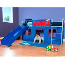Cama Infantil De Metal Con Resbaladilla, Azul