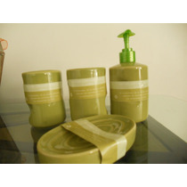 Set Cerámico Para Baño Diseño Bambú