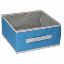 Cesto Para Ropa Caja Organizadora Cenefa Azul Chica Dicsa