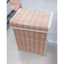 Cesto Para Ropa De Bambu Práctico Baño Recámara Cestos