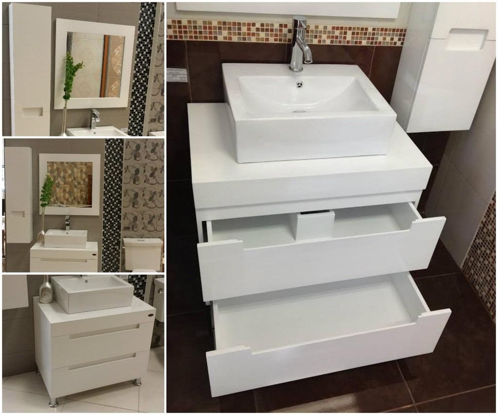 Gabinetes De Baño De Madera:Muebles Para Baño Mdf Color Blanco Espejo Y Gabinete Aby – $ 9,64110