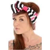 Hot Topic Banda Para Cabeza Black And Pink Striped Floppy