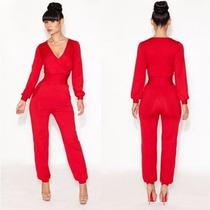 Palazzo Jumpsuit Body Rojo Pantalón Vestido Talla Xl 38 Xl
