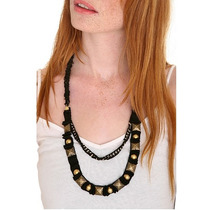 Hot Topic Collar Black Ribbon Pyramid Stud Chain Necklace