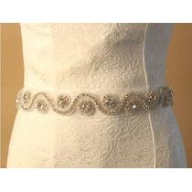 Cinturon Para Vestido De Novia Cristales Elegante Economico
