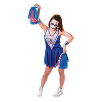 Disfraz De Halloween - Camiseta Azul White Zombie Cheerleade