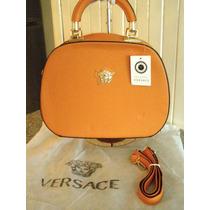 Bolsa Versace Naranja Vintage Piel Doble Aza