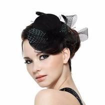 Tocado Sombrero Dama Negro Plumas Listón Halloween Disfraz