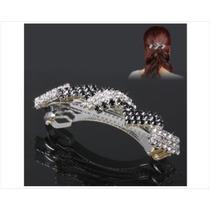 Clip Decorado Con Diamantes De Imitación Negro Y Plata