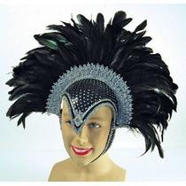 Burlesque Disfraz - Señoras Negro Pluma Casco Jewel +