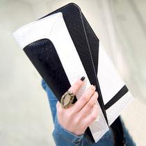 Bolso Clutch Blanco Con Negro Asimetrico Bicolor 80s Retro