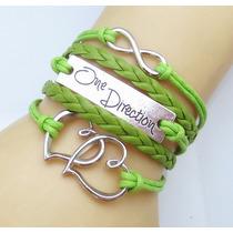 One Direction - Pulsera Brazalete De Piel Trenzada (verde)