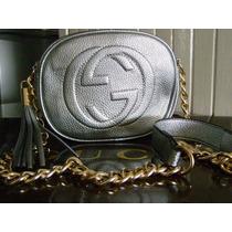 Bolsa Gucci Clutch Piel Plata