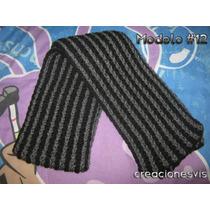 Elegante Bufanda Unisex En Color Gris / Negro Tejida A Mano