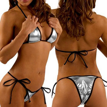 Bikini Moda Brasileña Metálico Plata Hermoso