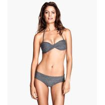 H&m Bikini Top Bandeau Halter/ Strapless Gris
