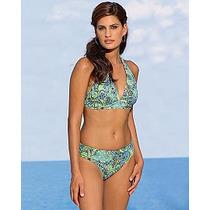 ¡¡reduce Al Instante!! Bikini Tipo Halter Azul Multi