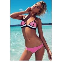 Bikini Neopreno Rosa Traje De Baño Dama Talla Grande Playa