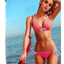 Traje De Baño Bikini Sexy Rosa Dos Piezas Fashion Verano
