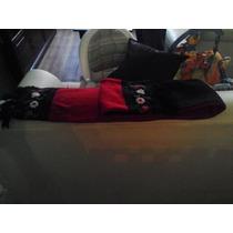 Bufanda Rojo Con Negro Detalle De Flores