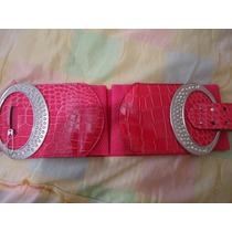 Cinturon Fiusha Marmoleado C/ Hebilla Plateada Para Dama