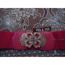 Cinturon Rosa P/dama C/hebilla D Mariposa Y Pedreria