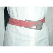 Cinturon Para Mujer Italiano Rojo Cereza 100% Piel