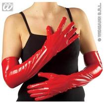 Maid Costume - 56cm Largo Rojo De Pvc Guantes Sexy Francesa