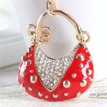Llavero Bolsa Roja Chapa De Oro Con Cristales De Autriacos