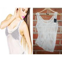 Blusa Calada Sin Manga Bikini Playa Talla S/m Nueva + Envio